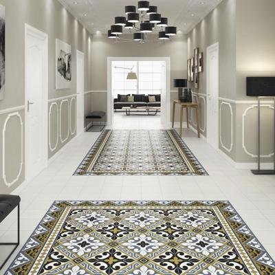 Black Versalles Porcelain Decorative Tile Room Scene