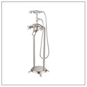 Chrome Freestanding Faucet With Hand Sprayer