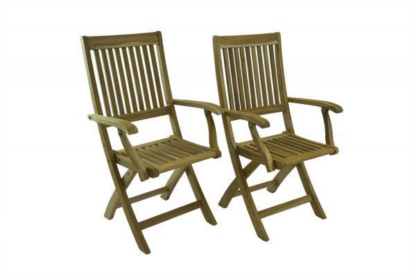 Bali Rustic Folding Teak Chair With Arms