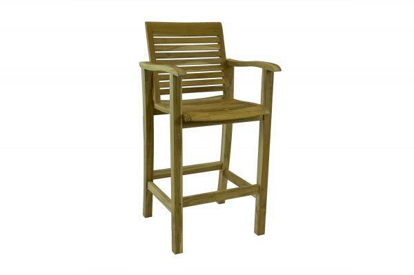 Teak Rustic Bar Chair With Arms
