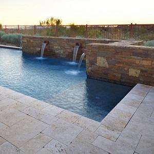 Light Unfilled & Honed Travertine Pool Coping
