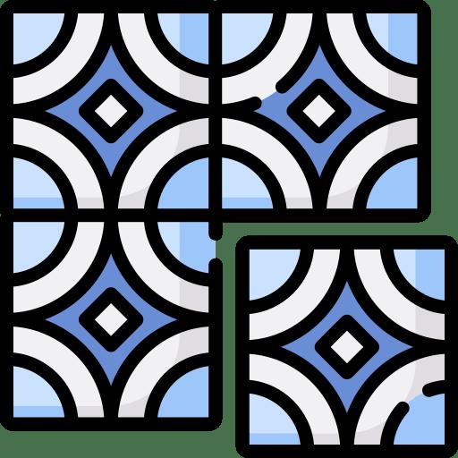 Blue Patterned waterline Pool Tiles
